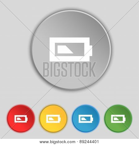 Battery Half Level Icon Sign. Symbol On Five Flat Buttons. Vector