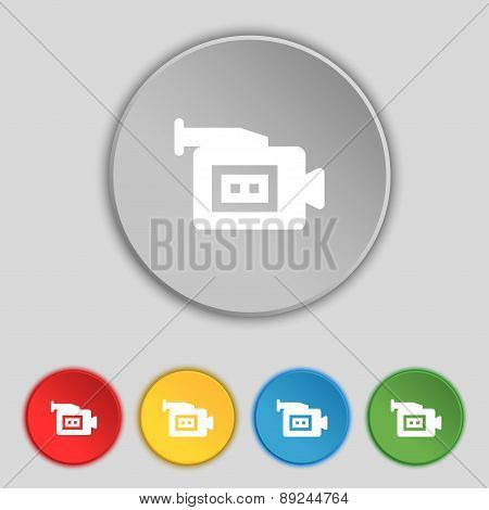 Video Camera Icon Sign. Symbol On Five Flat Buttons. Vector