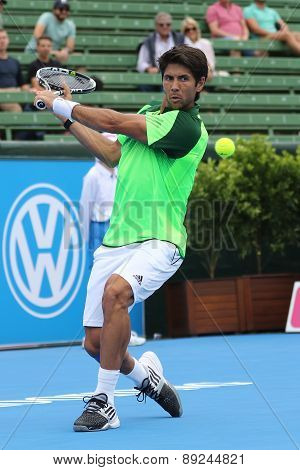 Fernando Verdasco backhand slice at the base line