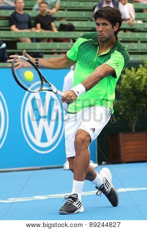 Fernando Verdasco makes ball contact