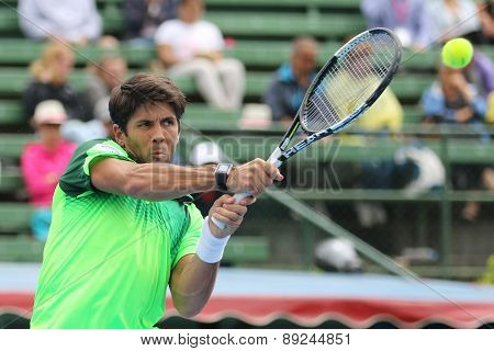 Fernando Verdasco follows through with high backhand