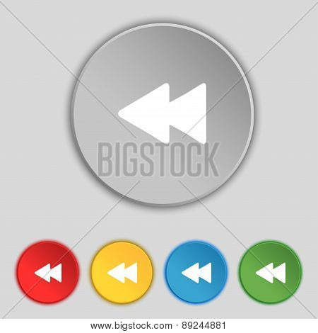 Rewind Icon Sign. Symbol On Five Flat Buttons. Vector