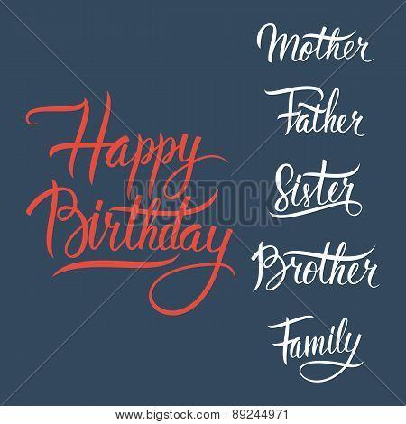 Happy Birthday lettering sign on dark blue background.