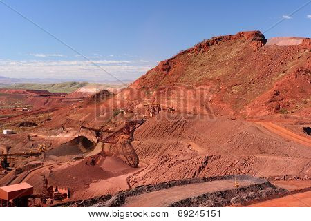 Iron Ore Truck Unloading, Conveyor and Stockpile