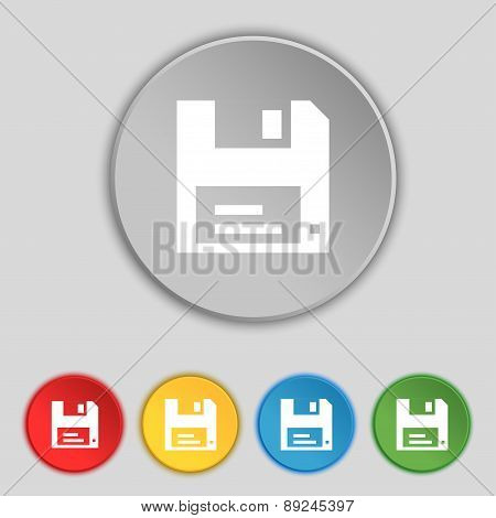 Floppy Icon Sign. Symbol On Five Flat Buttons. Vector