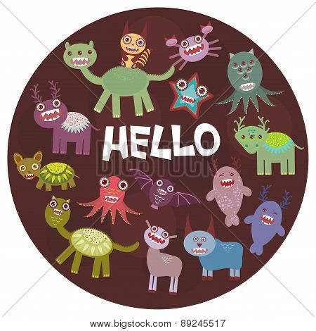 Funny monsters party card design on  dark background in the circle. Vector