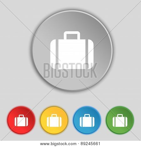 Suitcase Icon Sign. Symbol On Five Flat Buttons. Vector
