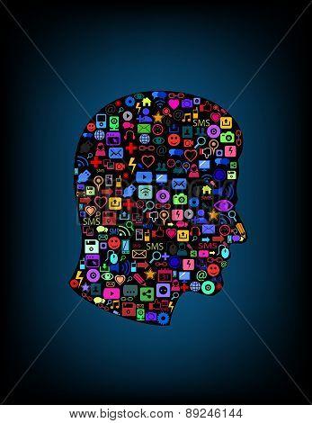 Brain concept various media