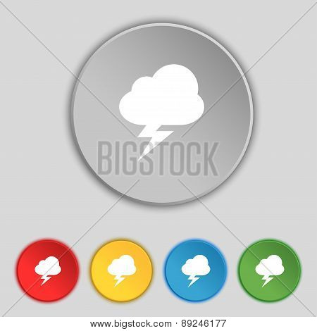 Storm Icon Sign. Symbol On Five Flat Buttons. Vector
