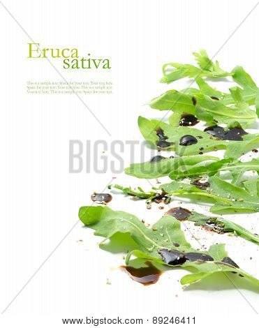 Fresh Green Rocket Salad Leaves, Eruca Sativa, Rucola Or Arugula Isolated On White