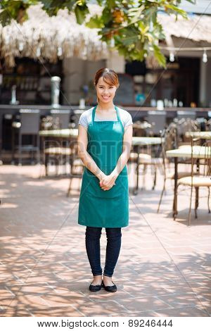 Waitress of outdoor cafe
