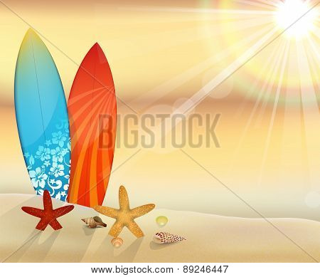 sunset beach with surfboards