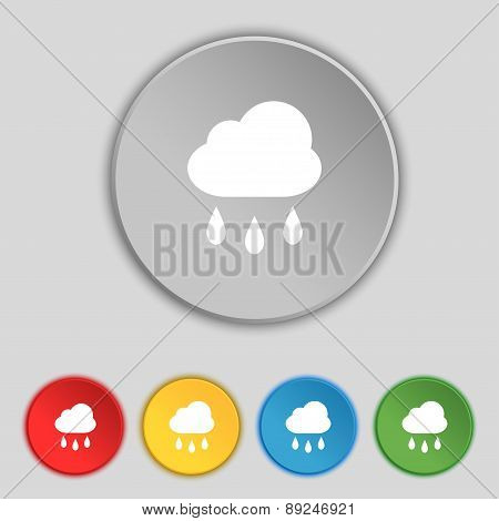Weather Rain Icon Sign. Symbol On Five Flat Buttons. Vector