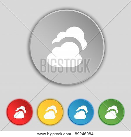 Cloud Icon Sign. Symbol On Five Flat Buttons. Vector