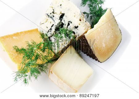 soft delicatessen chesses on white ceramic plate