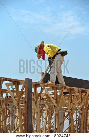 A construction workers fabricating beam formwork
