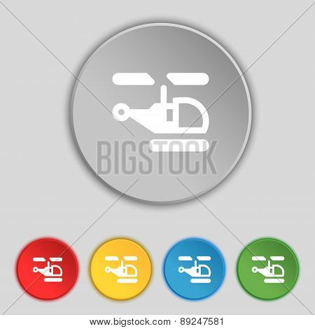 Helicopter Icon Sign. Symbol On Five Flat Buttons. Vector