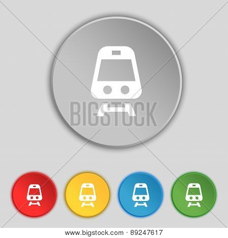 Train Icon Sign. Symbol On Five Flat Buttons. Vector