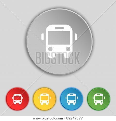 Bus Icon Sign. Symbol On Five Flat Buttons. Vector