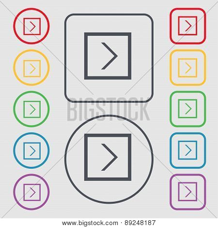 Arrow Right, Next Icon Sign. Symbol On The Round And Square Buttons With Frame. Vector