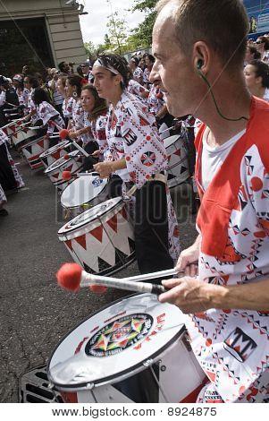 Drummers from Batala Banda de Percussao performing at the Notting Hill Carnival
