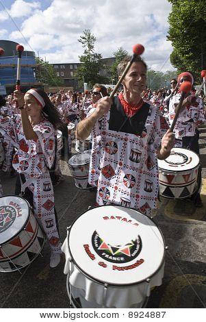 Drummers from Batala Banda de Percussao performing at the Notting Hill Carniv