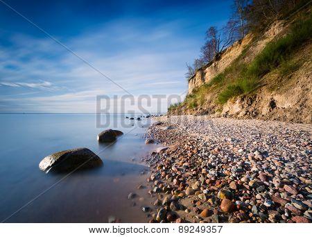 Beautiful Baltic Sea Shore With Big Cliff In Gdynia Orlowo