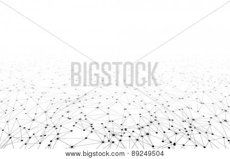 Communication social mesh. Network perspective polygonal background. Vector illustration.
