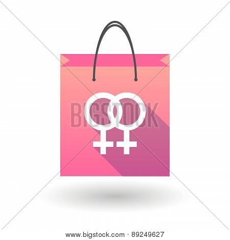 Pink Shopping Bag Icon With A Female Gay Sign