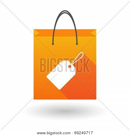Orange Shopping Bag Icon With A Shopping Label