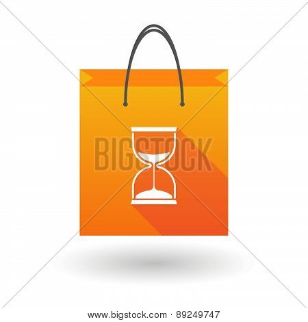 Orange Shopping Bag Icon With A Sand Clock