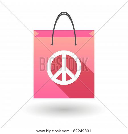 Pink Shopping Bag Icon With A Peace Sign