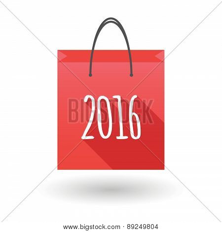 Red Shopping Bag Icon With A 2016 Year Number