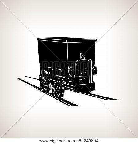 Silhouette Coal Mine Trolley