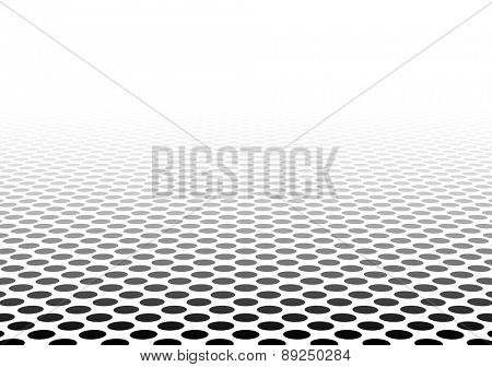 Perspective black and white grid. Surface with circles. Vector illustration.