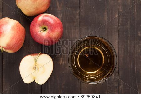 Top Healthy Apple Juice Drink And Red Apples Fruits On Wooden Background