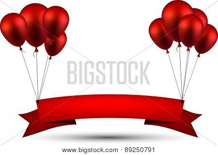 Celebration ribbon background with red balloons. Vector illustration.