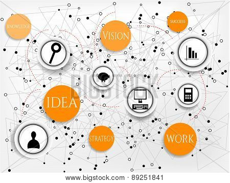 Modern, abstract infographic with black icons, orange, round icons with text - work, idea, success,