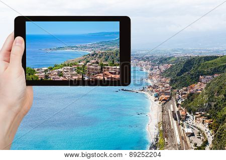 Photo Of Giardini Naxos Town From Taormina, Sicily
