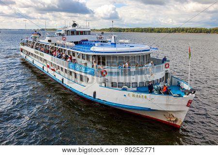 River Cruise Ship S. Yulaev Near The Embankment In Samara At Sunny Summer Day