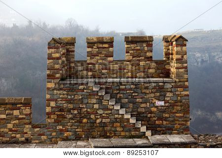 Ruins Of An Ancient Fortress On A Foggy Winter Day. Veliko Tarnovo , Bulgaria