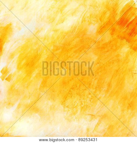 Creative Beautiful Bright Yellow Background, Cracks And Scratches On The Concrete. Grungy Concrete S