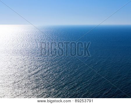 Blue Landscape Background Sea Surface Backlit Morning Light Of The Setting Sun In A Wide Range Of Br