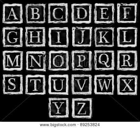 Alphabet Metal Stamp Letters White