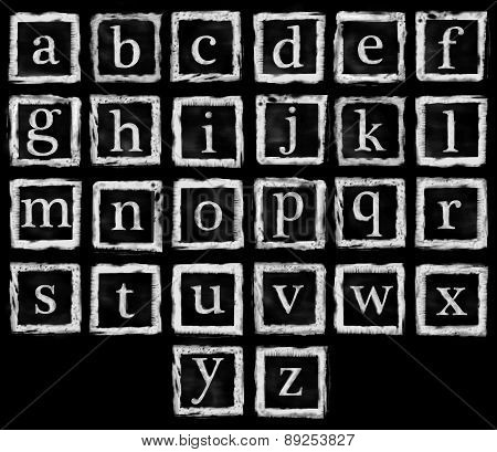 Alphabet Metal Stamp Small Letters White