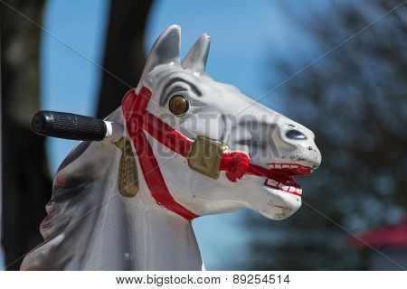 Head Of An Old Carousel Horse Or Coin Operated Rocking Horse