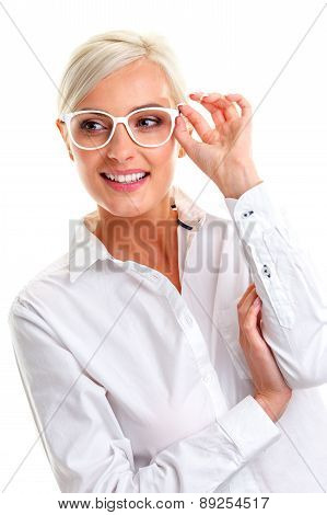 woman in white glasses. Head and shoulders