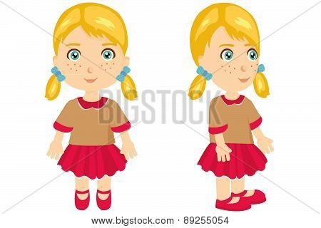 Blong girl with pigtails front and side