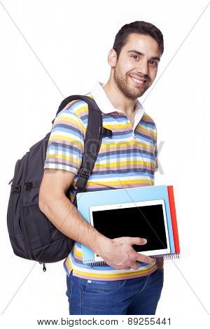 Portrait of a happy young student, isolated on white background