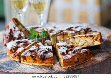Authentic Sponge Cake With Raisins, Cinnamon And Apples. Morning Atmospheric Lighting, Fashionable T